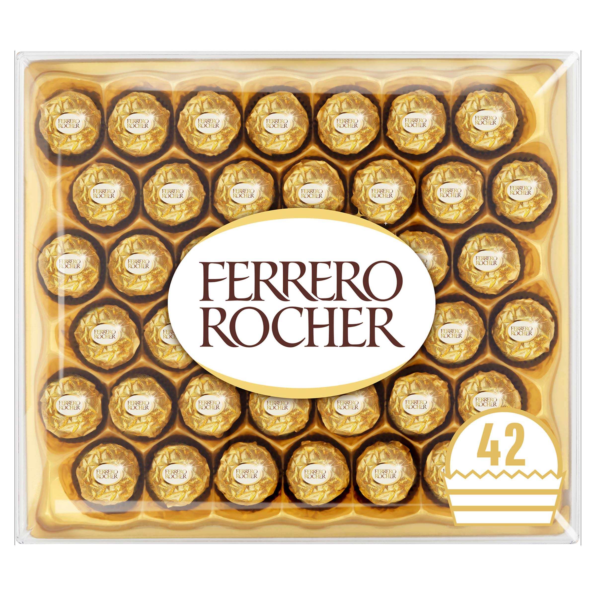 Ferrero Rocher Chocolate Easter Gift Set, Hazelnut and Milk Chocolate Pralines, Box of 42 Pieces