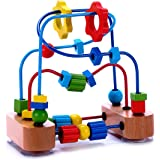 Bead Maze Activity Cube Wooden Toy for Babies, Toddlers - Small Wood Roller Coaster Sliding Beaded Balls On Sturdy Wire Frames w/ Suction Cups - Classic First Developmental Toy for 1 & 2 Year Olds