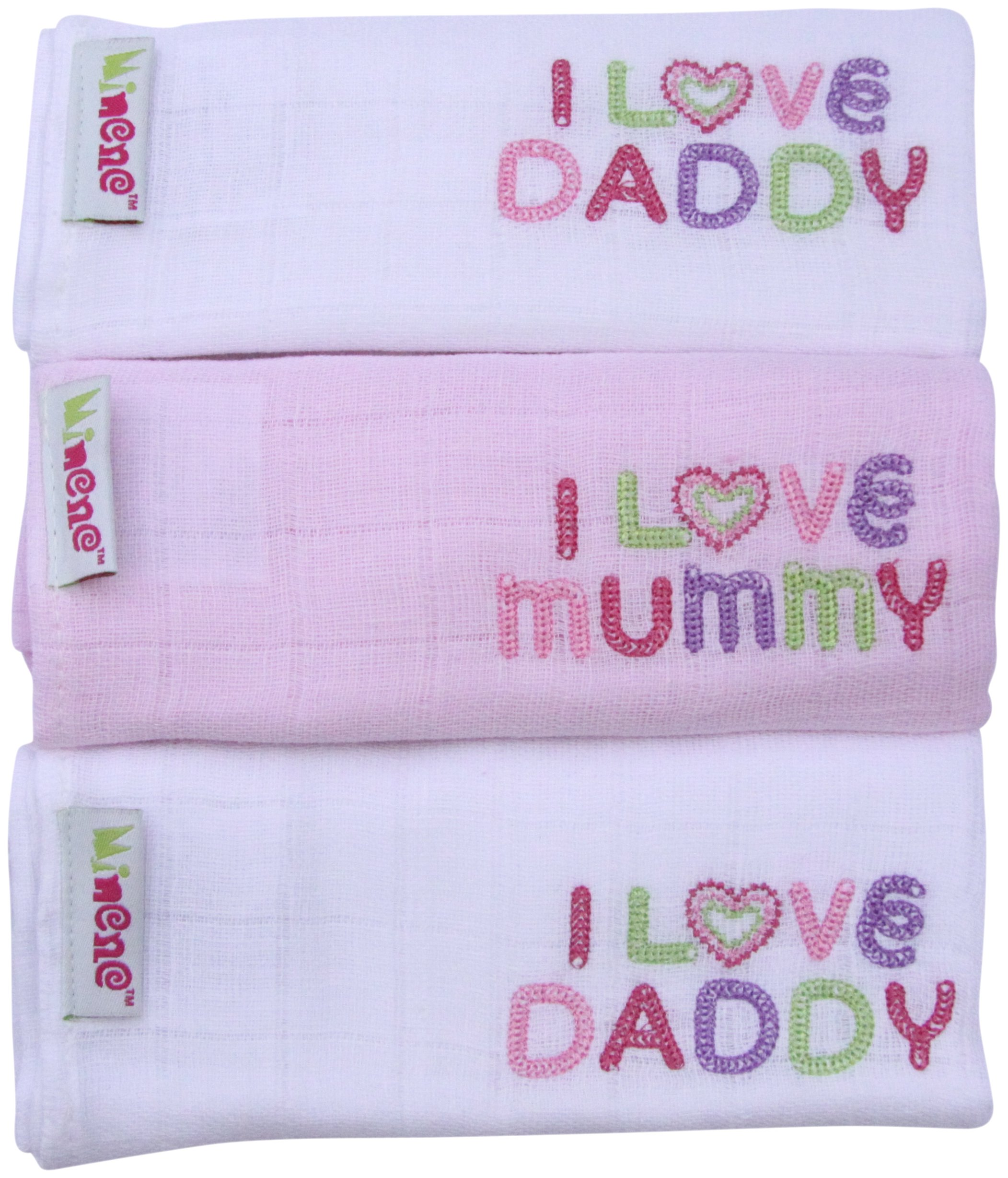 Minene I Love Mummy/I Love Daddy Embroidered Muslin Squares 3-Pack (White/Pink)