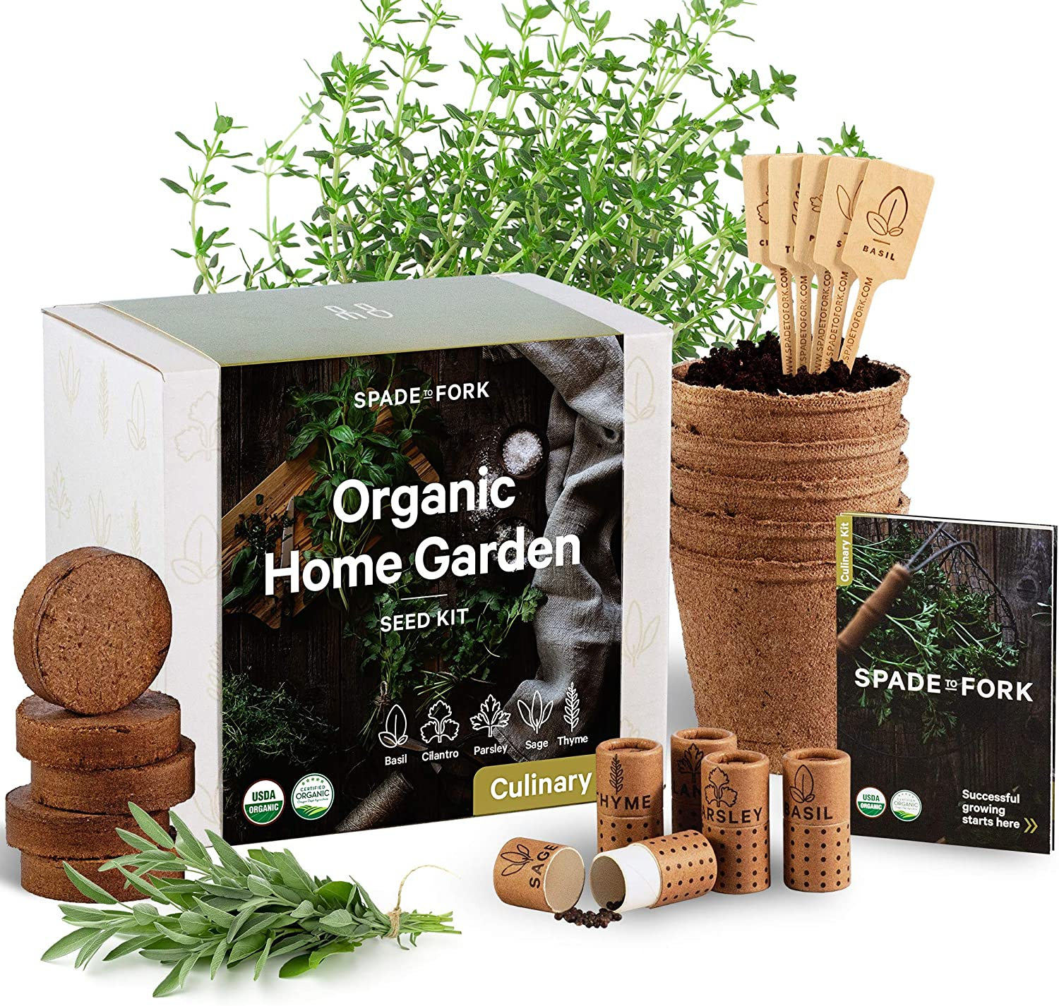 Organic gardening kits for herbs and vegetables