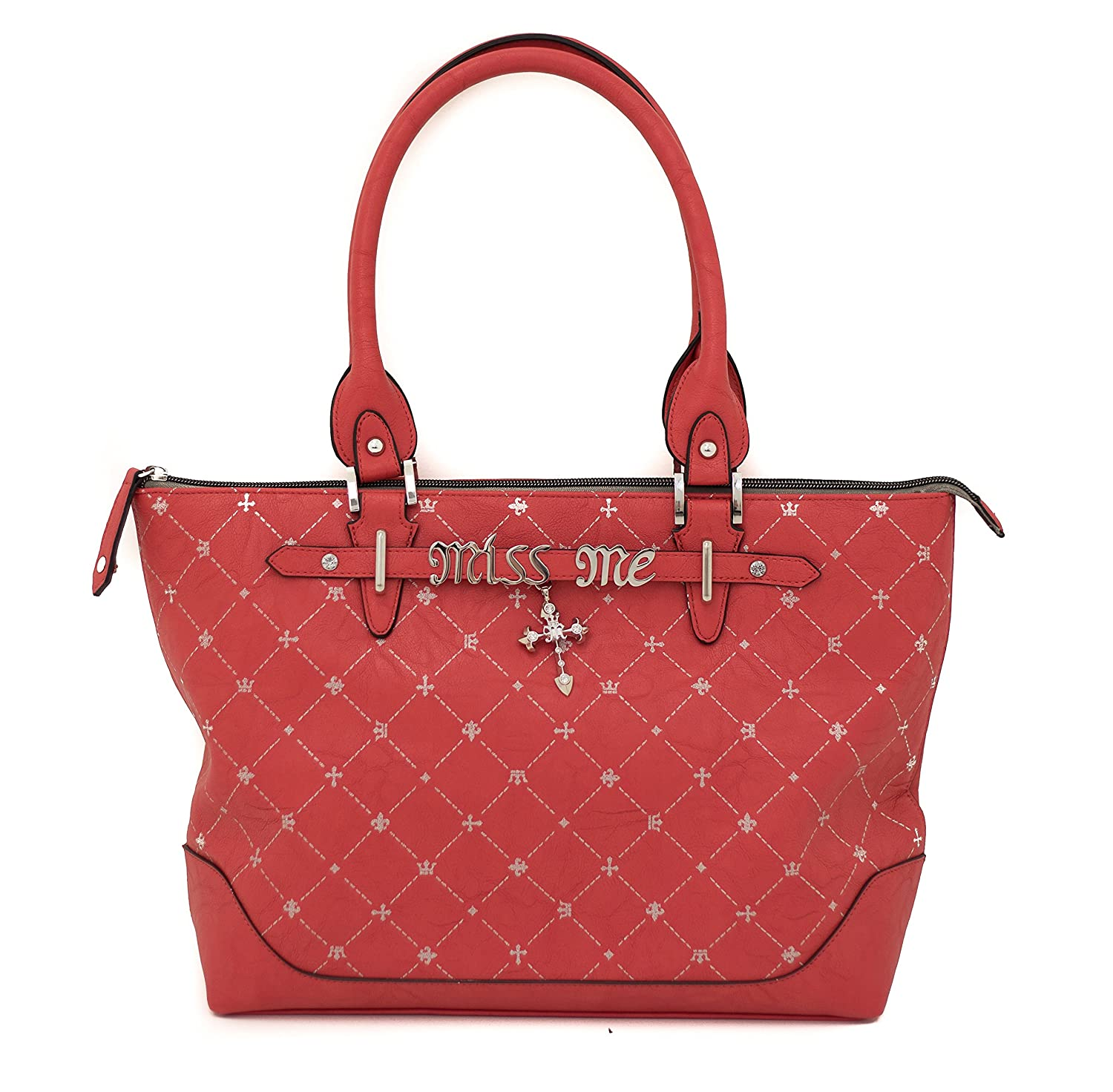 Miss Me HB169GTC Poppy Red Glam Mademoiselle Gemma Tote With Cross Charm