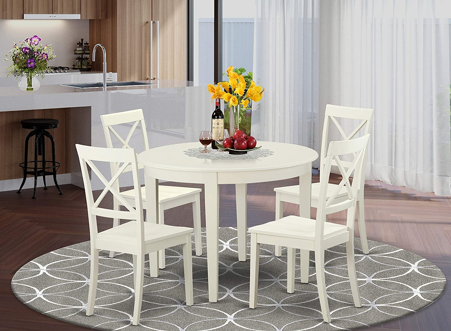 East West Furniture Dinette Set 5 Pc - Linen White Color Wooden Kitchen Chairs Seat - Linen White Finish Dining Room Table and Frame