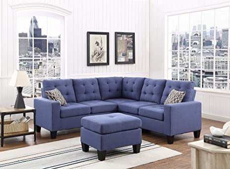 Amazon Com Montana Sectional Sofa With Ottoman In Blue Color Fabric