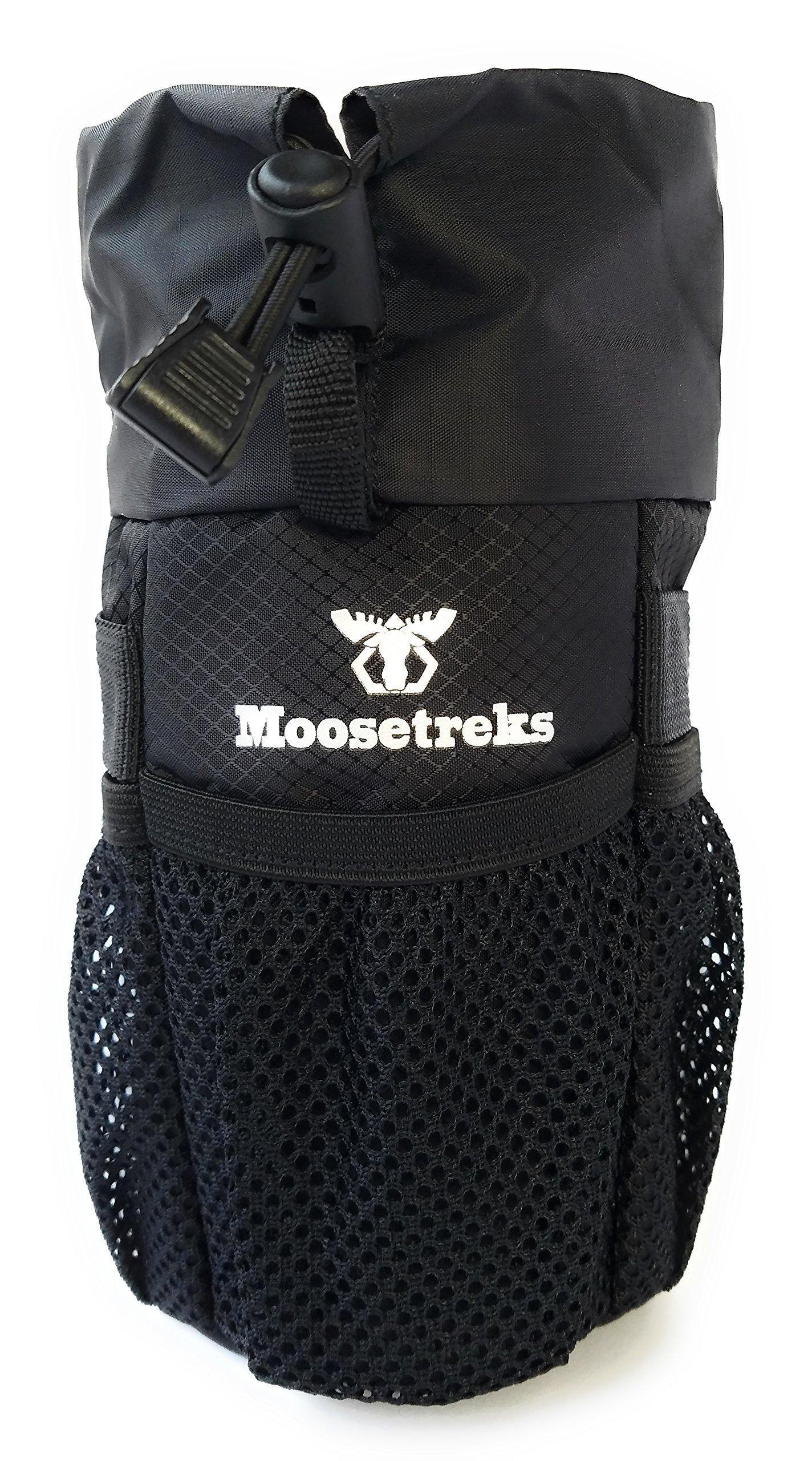 Moosetreks Bike Handlebar Stem Bag | Food Snack Storage, Water Bottle Holder | Bikepacking, Bicycle Touring, Commuting, Insulated Pouch
