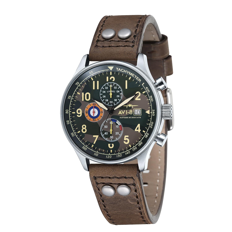 AVI-8 Hawker Hurricane Quarz-Chronograph fÜr Herren mit mehrfarbigem analogen Zifferblatt und braunem Lederarmband (AV-