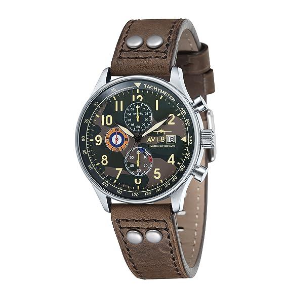 Reloj cronógrafo de cuarzo para hombre AVI-8 Hawker Hurricane con esfera analógica multicolor y correa de cuero marrón AV-4011-09: Amazon.es: Relojes