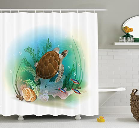 Ocean Decor Shower Curtain Set By Ambesonne, Sea Turtle Swims In The Ocean  Tropical Underwater
