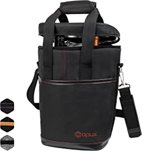 OPUX 4 Bottle Wine Cooler Bag | Wine Bottle Carrier for Travel | Wine Tote with Adjustable Shoulder Strap and Padded Protection (Black)