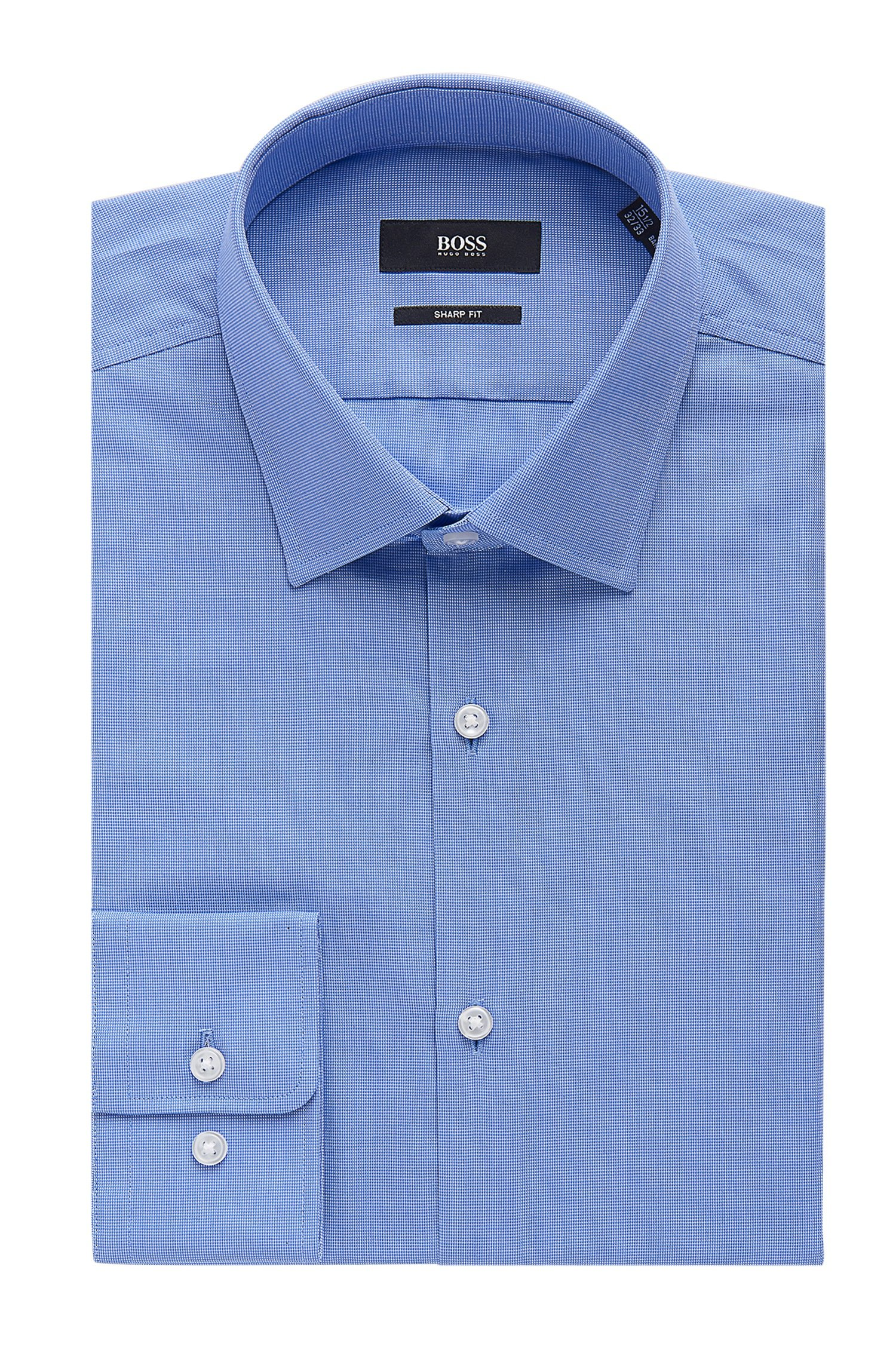 Hugo Boss Nailhead Cotton Dress Shirt, Sharp Fit Marley US (Light Blue, 17.5 x 34/35)