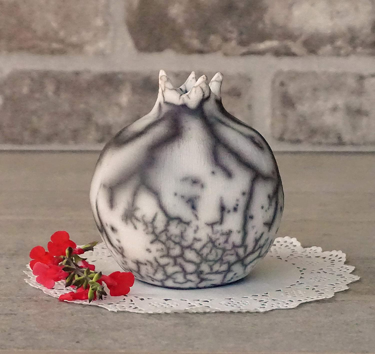 decorative fruit Ceramic Ceramic pomegranate, Home decor Israeli Pomegranate naked Raku Pottery Pomegranate Raku Pomegranate