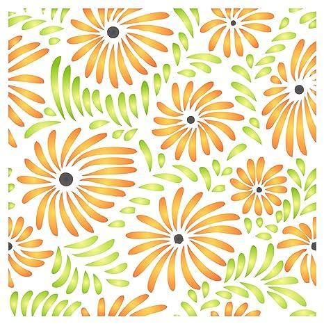 Diseño de flores plantilla para estarcir – reutilizable Flora Daisy patrón Allover pared plantillas para pintar
