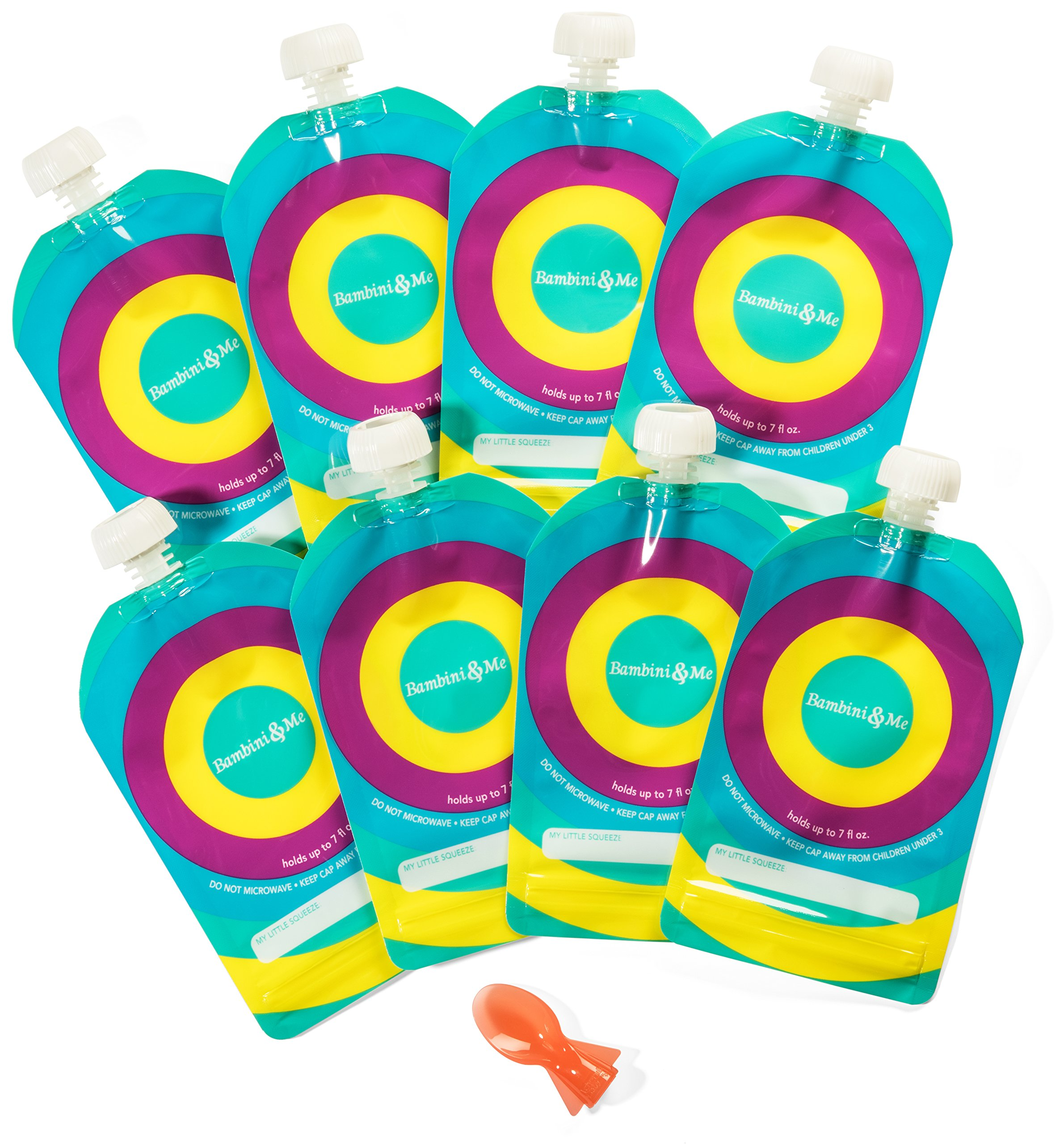 Reusable Baby Food Pouch (8-Pack) — Refillable 6 oz. Toddler Squeeze Pouches w/Leak Proof Cap – Ideal for Homemade Puree, Drinks, Snacks, Yogurt, Pudding, BONUS Silicone Spoon -Bambini & ME