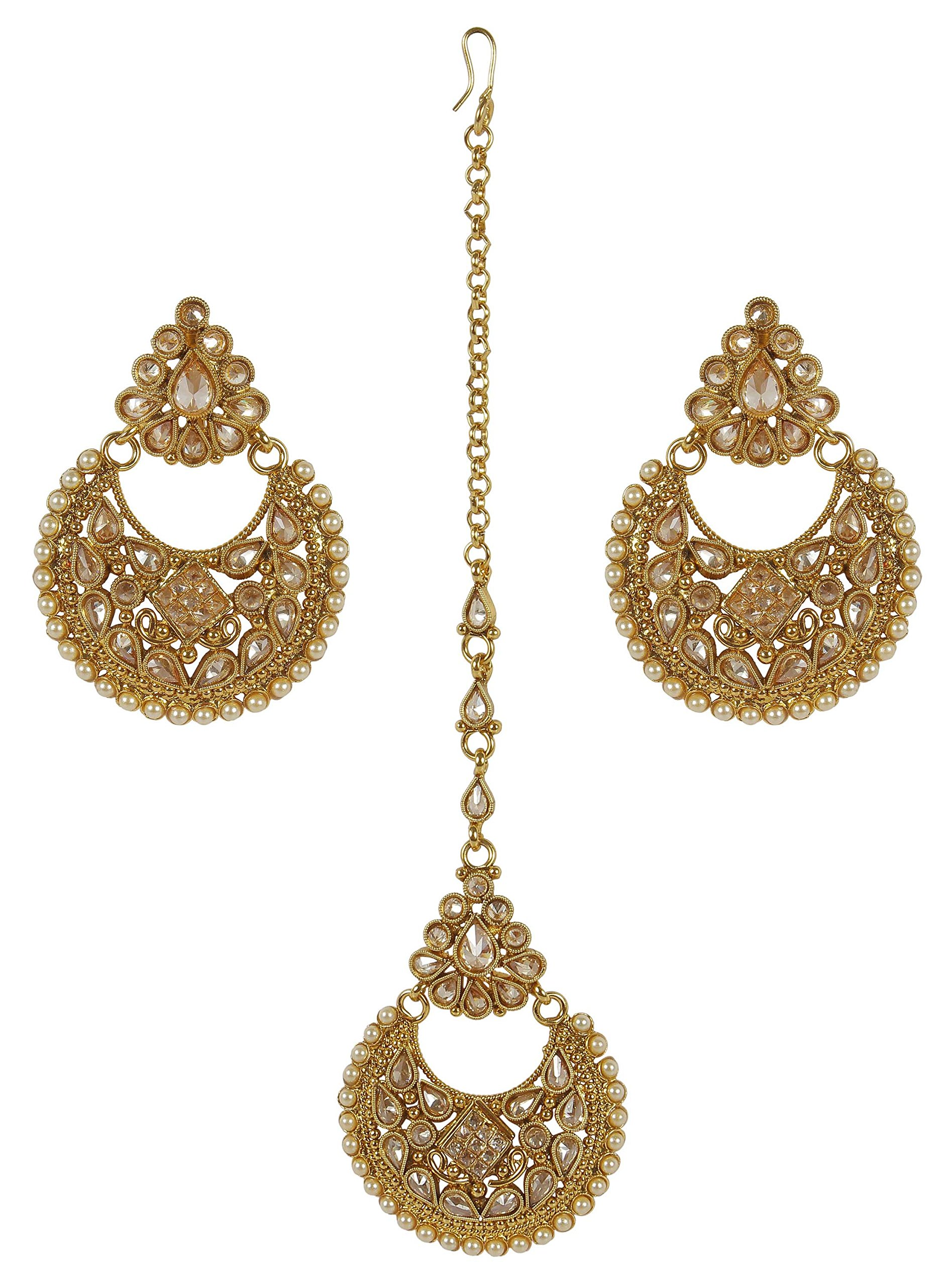 MUCH-MORE Indian Gold Plated Traditional Fantastic Multi Stone earring with mang tikka Jewelry For Women (2324)