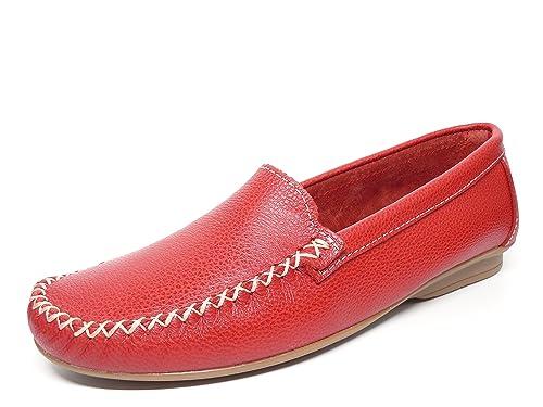 Zapato mujer casual mocasin marca DELTELL en piel color Rojo pasado ...