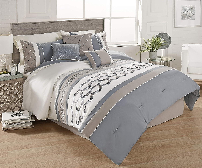 Riverbrook Home Beren Comforter Set, Queen, Blue/Tan/Ivory 7