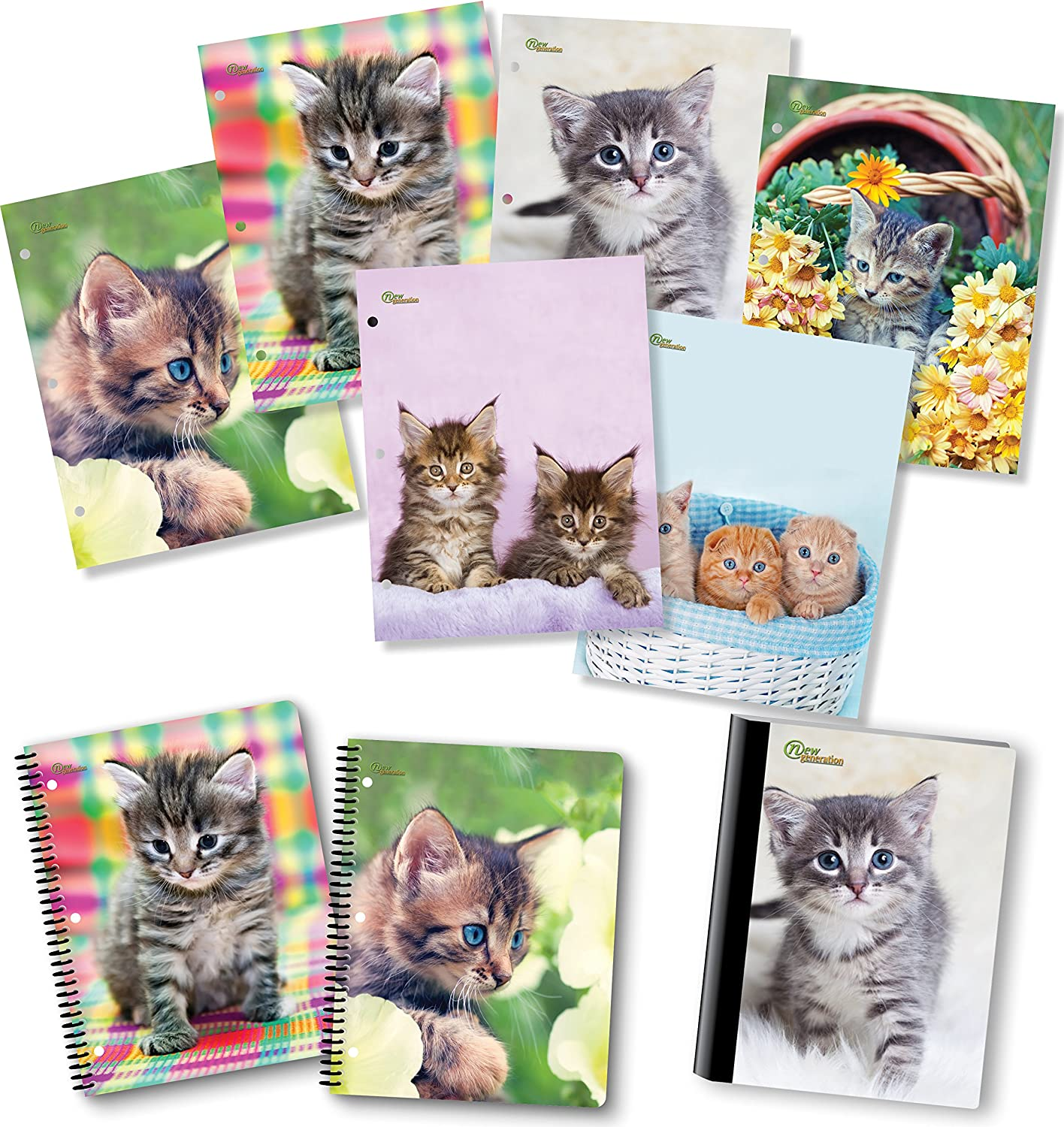 NEW GENERATION – Kittens 2 Pocket Folders, Heavy Duty Fashion Durable 6 Assorted Cat Designs School Folders,Set Included with1 Composition Notebook, 2 Spiral Notebooks - 9 Pack