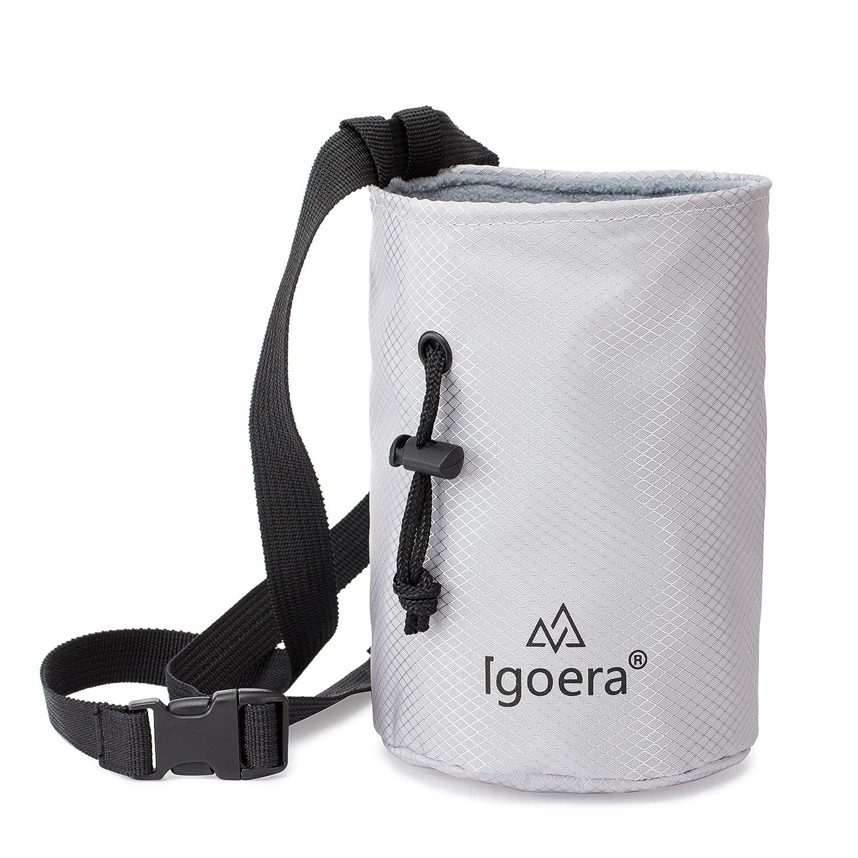 Igoera Magnesera Escalar y Boulder, la Bolsa Magnesio es de un Material Muy Resistente, Impermeable y con un Sellado Magnesio no salga del Chalk Bag, Color_Map_Amazon:Grau