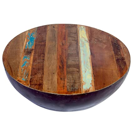 3b4a19c6b65a Image Unavailable. Image not available for. Color  Porter Designs SBA-5437  Thrum Wood   Copper Round Coffee Table