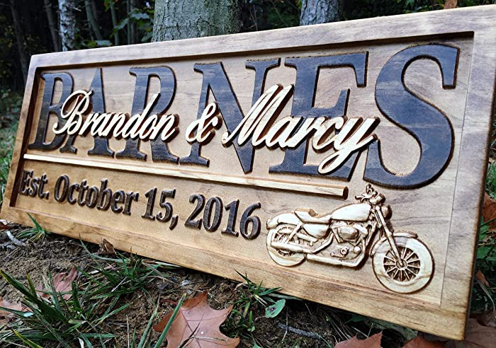 amazon com personalized motorcycle gifts motorcycle wedding sign