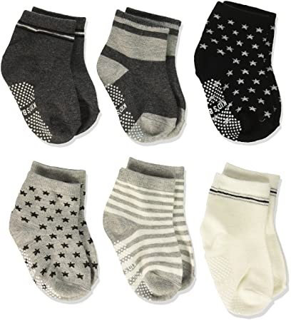 Set of 6 Wrapables Peek A Boo Animal Non-Skid Toddler Socks Assorted Large