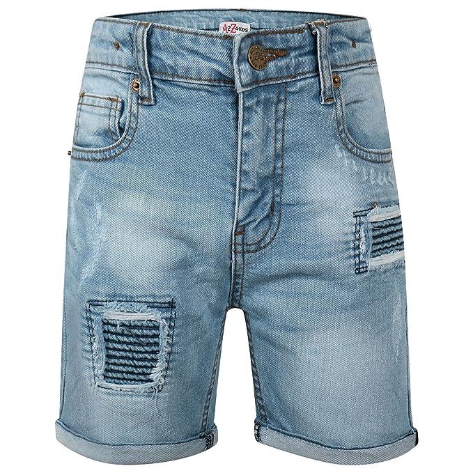 3ebaf23f0e23 A2Z 4 Kids® Kids Boys Shorts Denim Ripped Light Blue Chino Bermuda Jeans  Short Knee