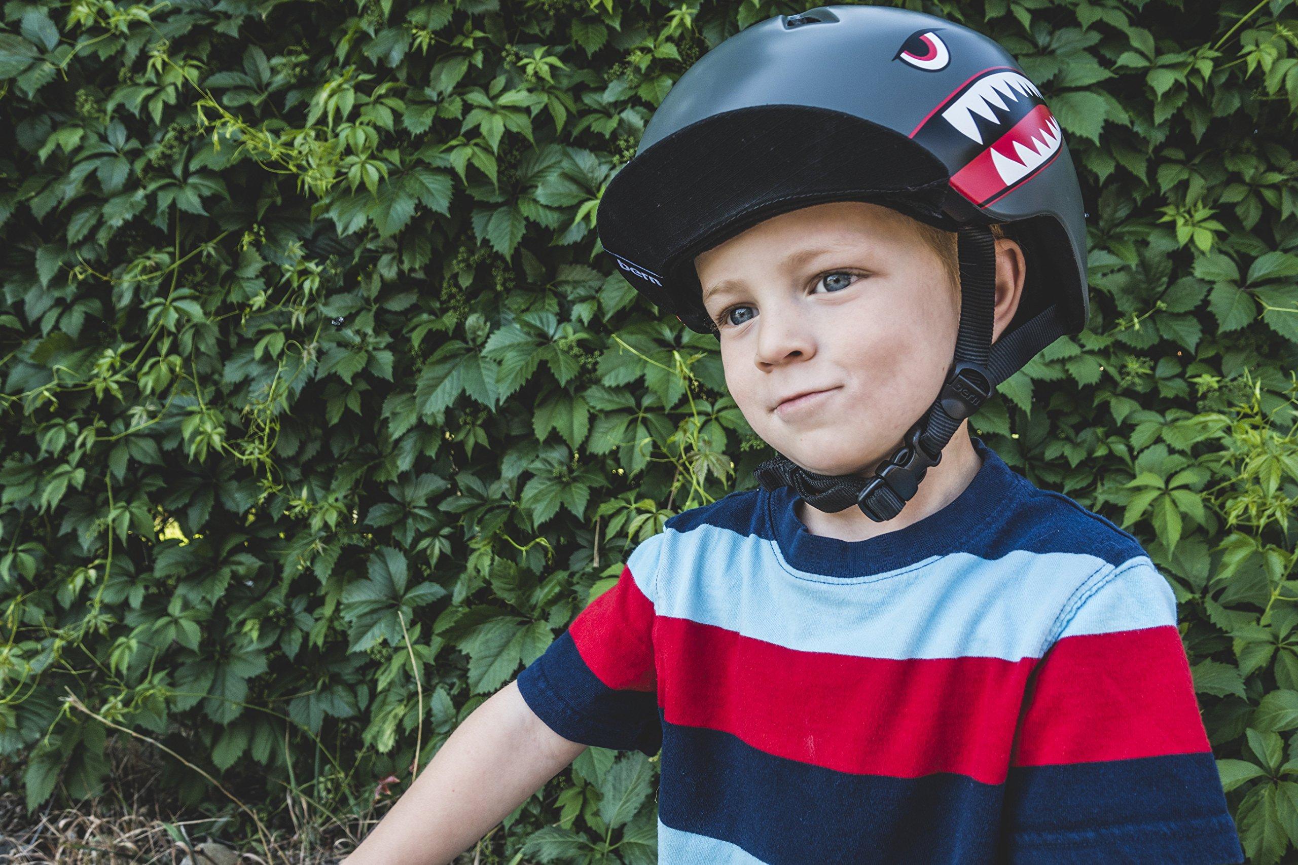 Bern - Kid's Nino Helmet, Satin Grey Flying Tiger w/Flip Visor, XS/S