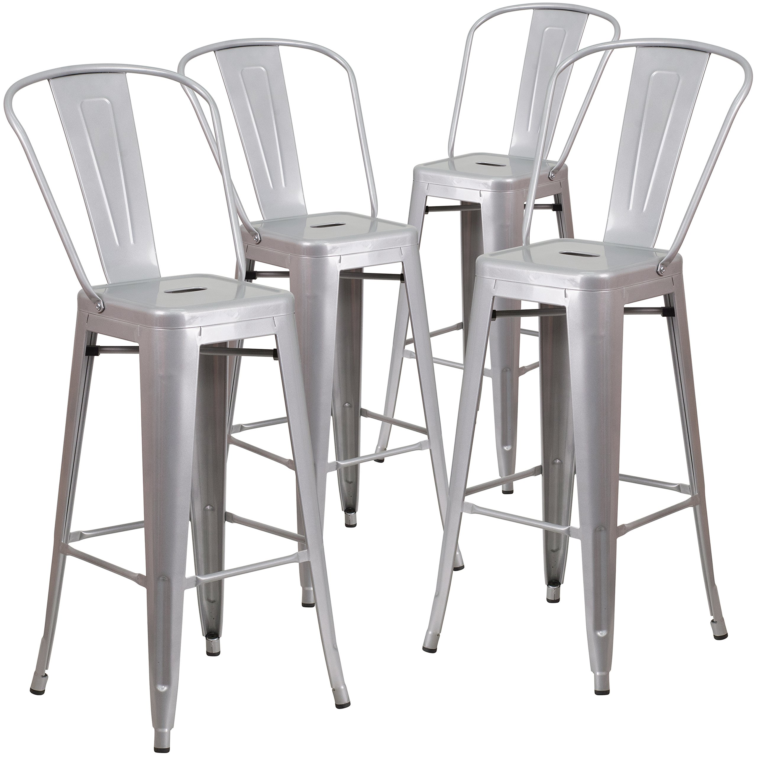 Flash Furniture 4 Pk. 30'' High Silver Metal Indoor-Outdoor Barstool with Back