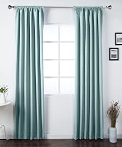 "AmazonBasics Room Darkening Blackout Window Curtains with Tie Backs Set, 42"" x 84"", Seafoam Green"