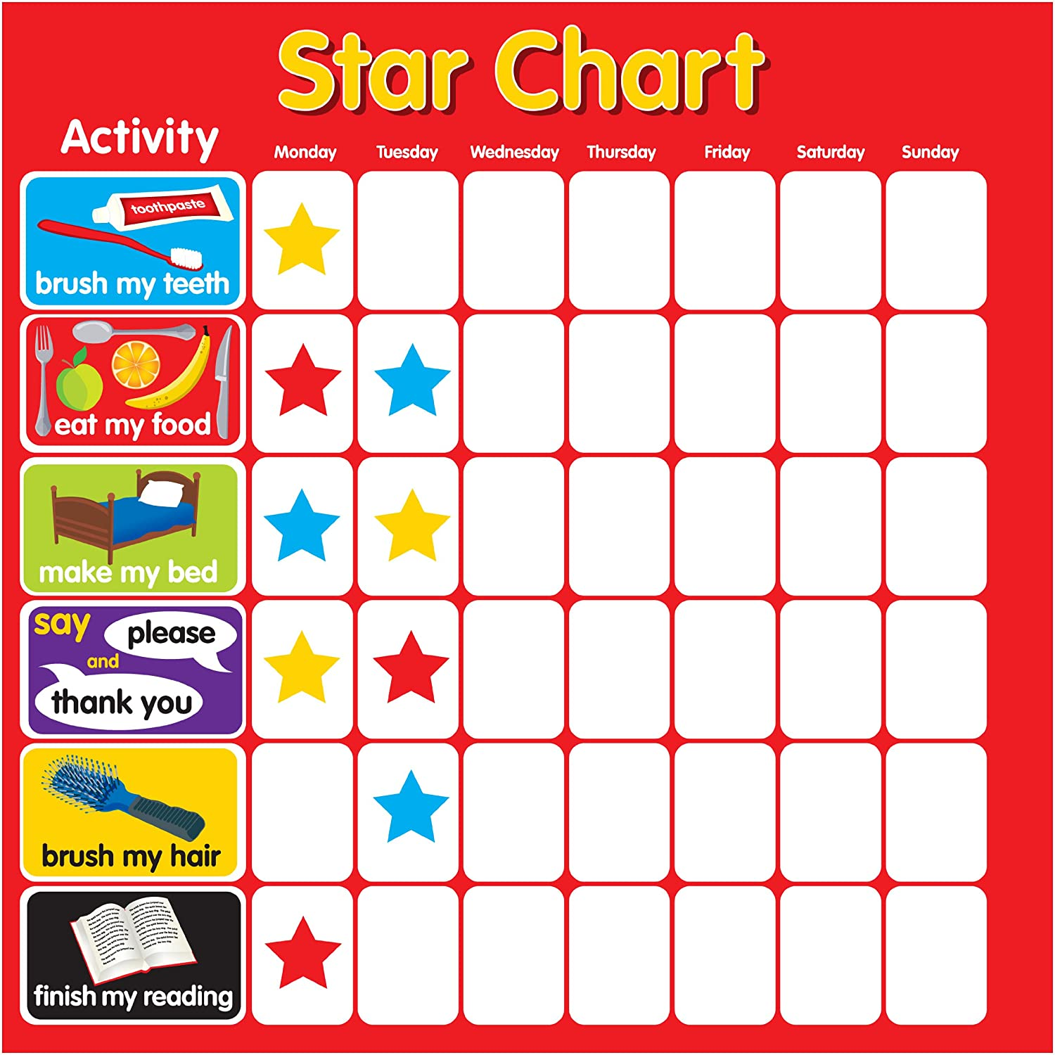 Reward / Star Chart Magnetic - Rigid Square 32x32cm with hanging ...