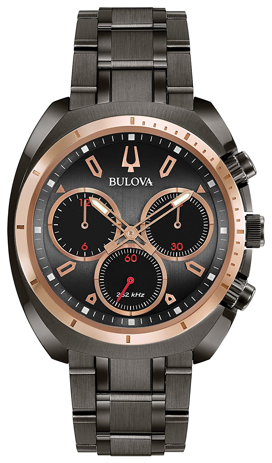 4946f4144 Amazon.com: Bulova Men's Curv Collection Analog-Quartz Watch with Stainless-Steel  Strap, Grey, 22 (Model: 98A158): Watches