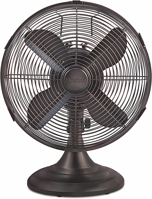 12-inch HOLMES Heritage Collection Table Fan Brushed antique nickle finish HDF1206-BTU