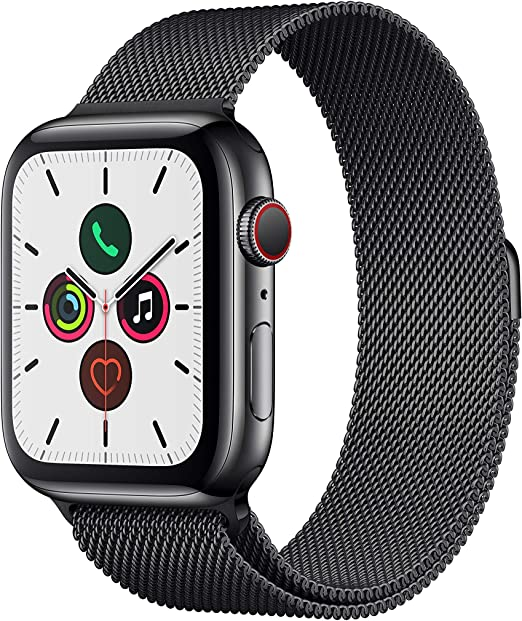 Oferta amazon: Apple Watch Series 5 (GPS + Cellular, 44 mm) Acero Inoxidable en Negro espacial con Milanese Loop Negro espacial