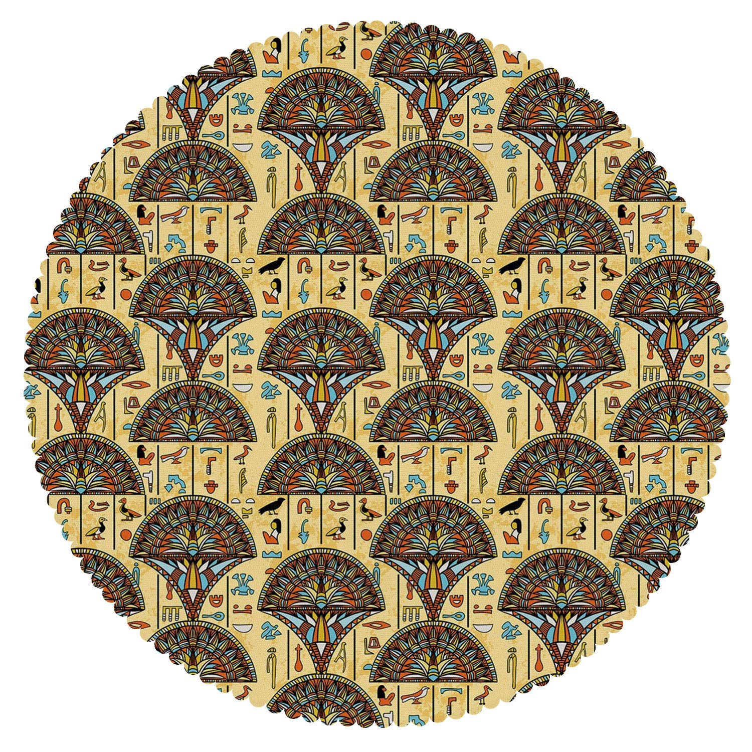 iPrint Round Tablecloth [ Egyptian,Colorful Folkloric Traditional Ornaments Archeology History Theme Tribal Antique Decorative,Multicolor ] Fabric Home Tablecloth Ideas