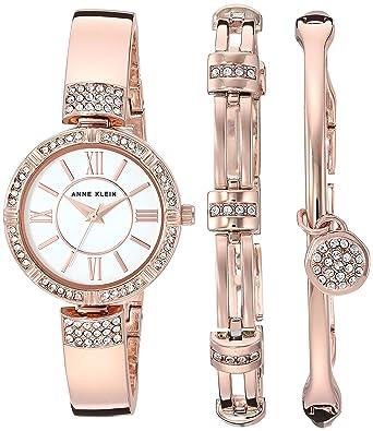c355f1c89820 Anne Klein Women s AK 3294RGST Swarovski Crystal Accented Rose Gold-Tone  Bangle Watch and