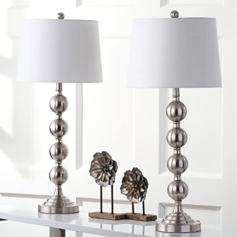 Safavieh Lighting Collection Stacked Gazing Ball Nickel 32.5 Inch Table Lamp  (Set Of 2