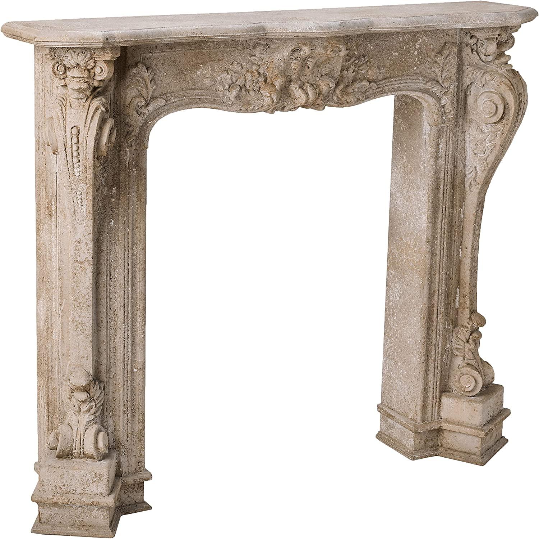 Decorative fireplace mantel looks like aged stone