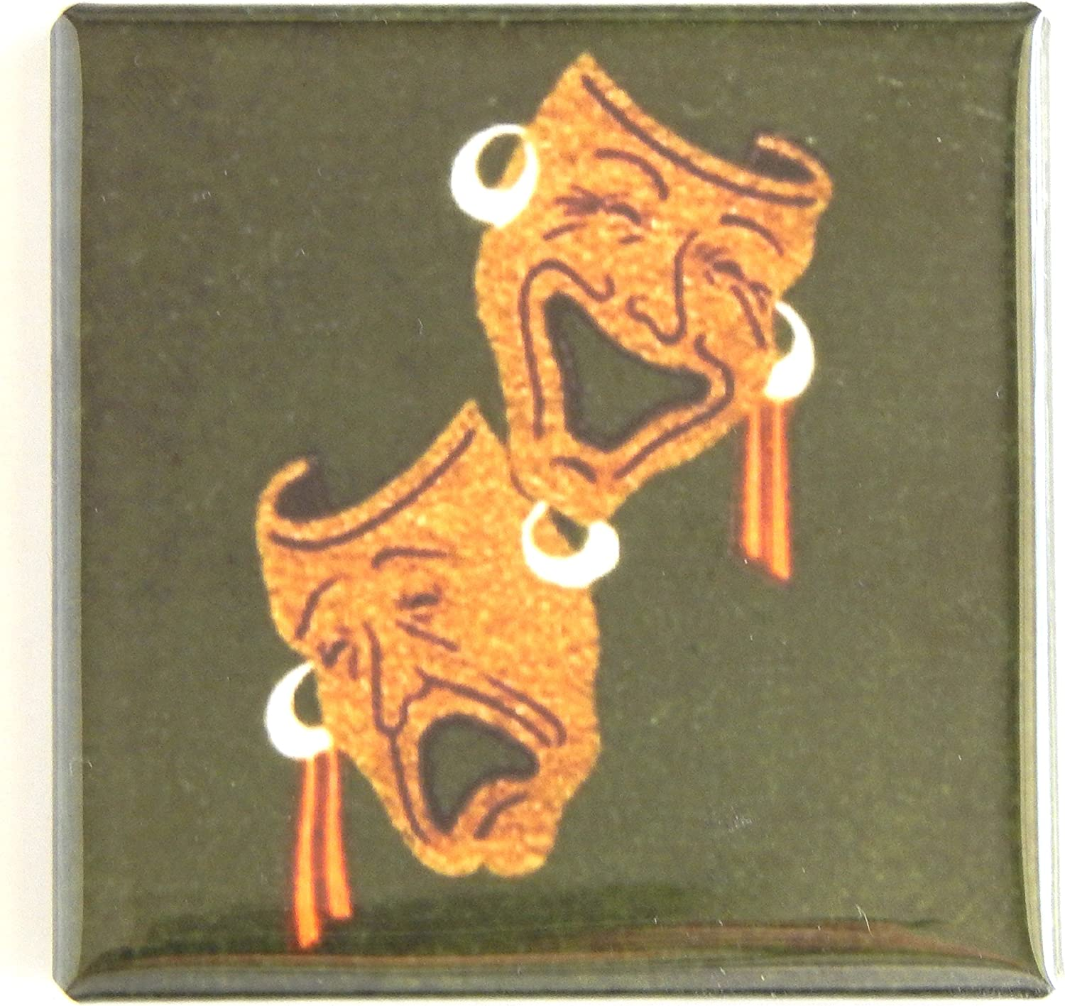 Comedy and Tragedy Masks Fridge Magnet (2 x 2 inches)