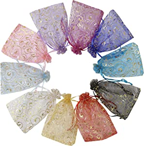 Stratalife 100PCS Organza Bags 4x6 with Drawstring Small Jewelry Gift Bags for Wedding Party Baby Shower Pouch Sachet Mesh Bags Bulk(Mixed Eyelash)