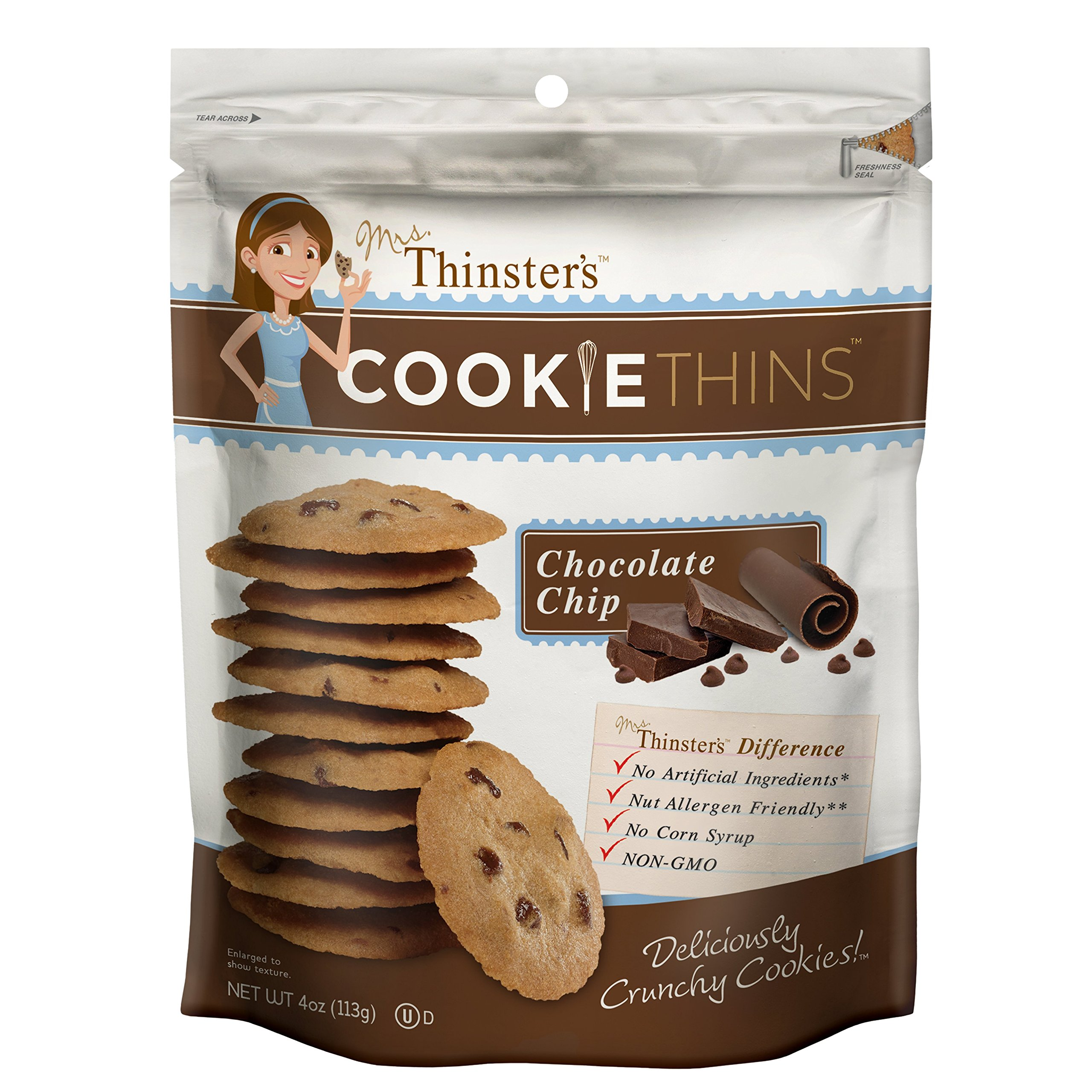 Mrs Thinsters Cookie Thins Chocolate Chip Non GMO Peanut Free 16