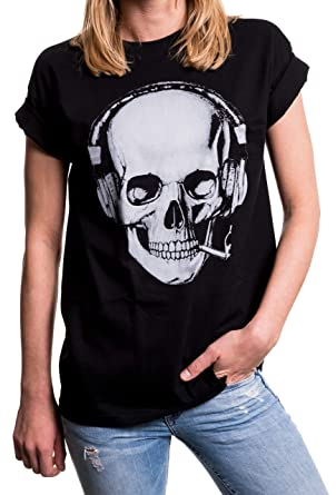 401885f43aa78d MAKAYA Damen Shirt Totenkopf - Rockiges Skull Top mit Kopfhörern - Oversize  weit geschnitten Übergrößen: Amazon.de: Bekleidung