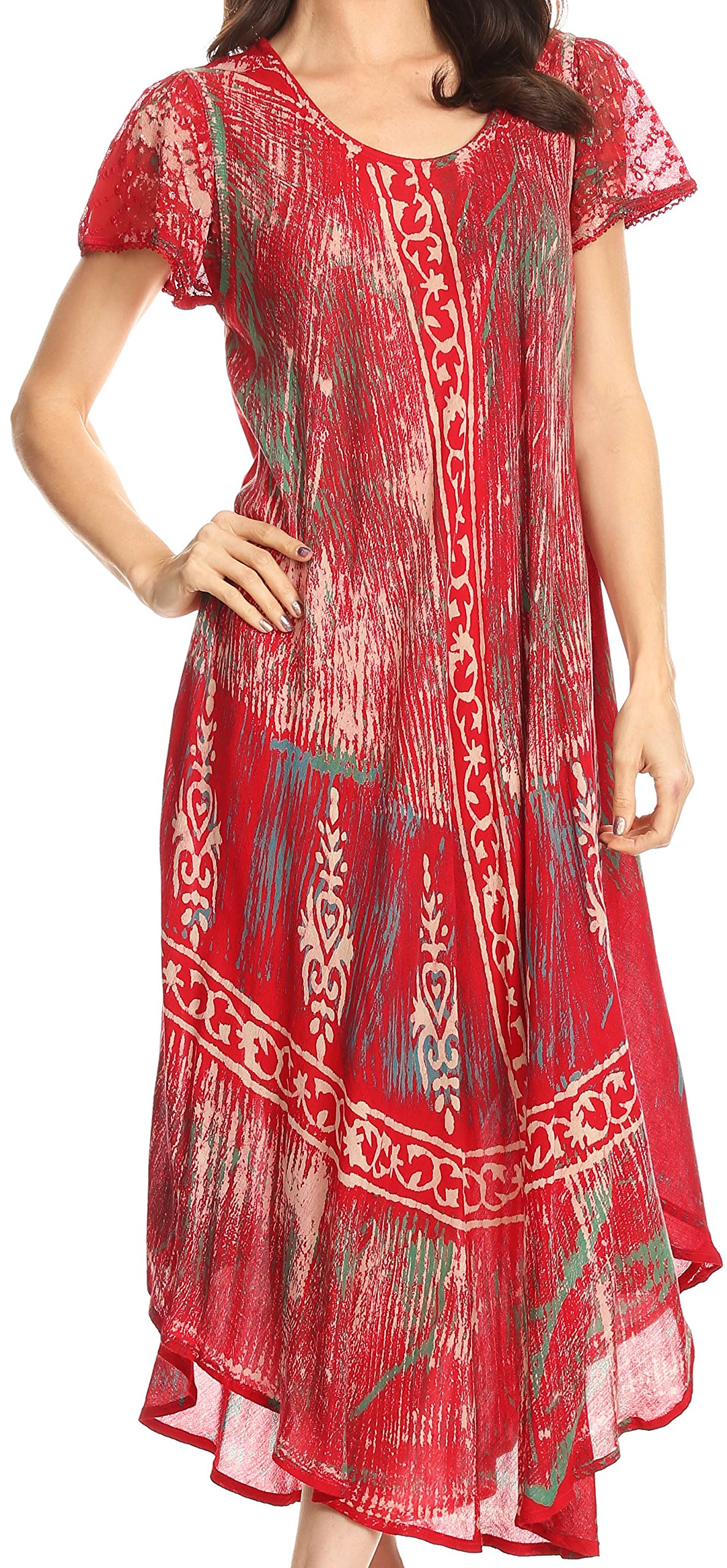 Sakkas 17811 - Talia Ethnic Print Short Sleeve Long Dress/Cover up - Red - OS
