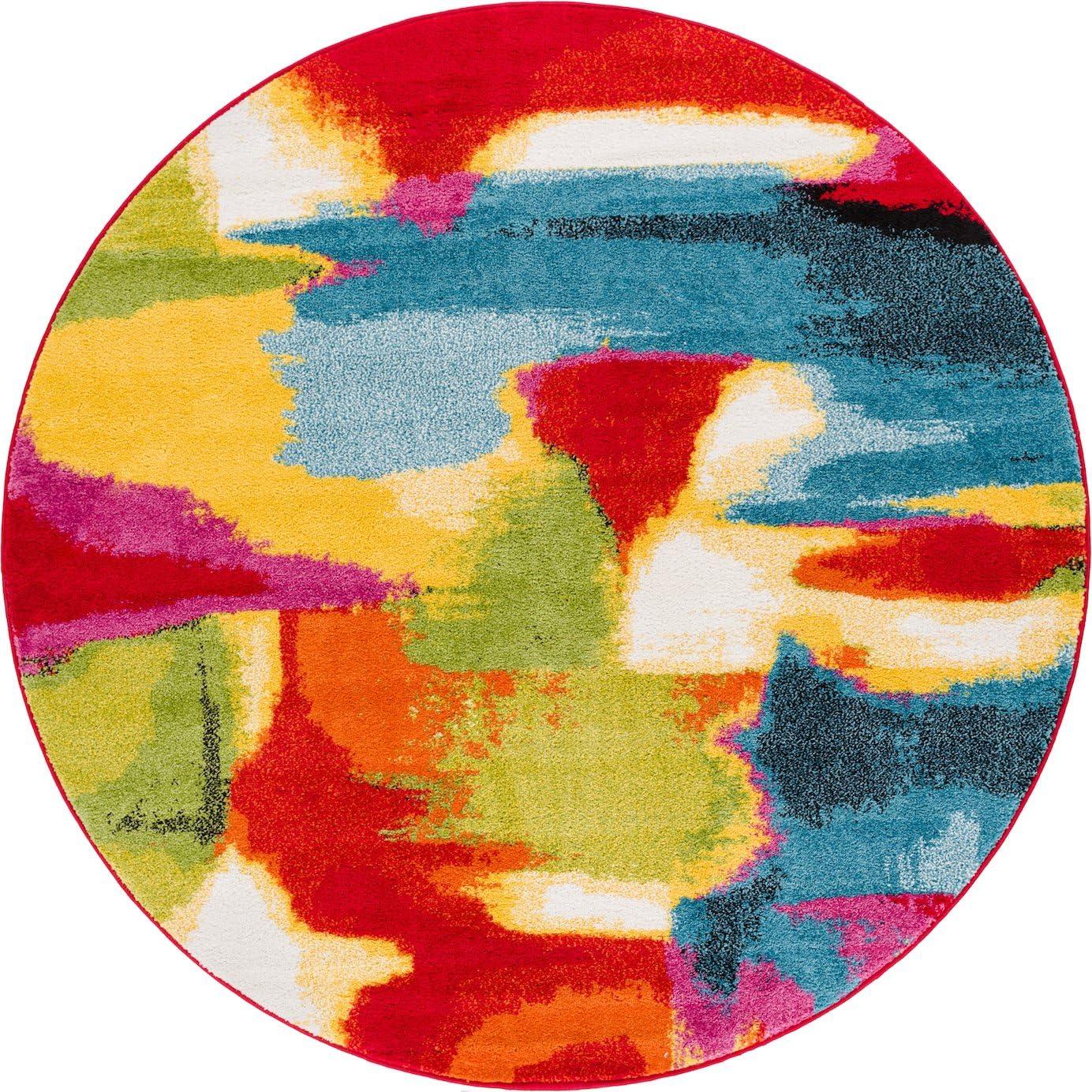 HomeWay Blurry 5 3 Round Vivid rainbow-colored soft Rug Mid-century modern Velvety bright soft Area Rug