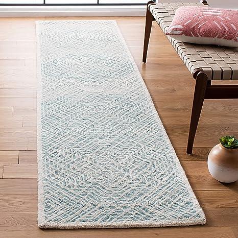 Amazon Com Safavieh Capri Collection Cpr215n Handmade Premium Wool Runner 2 3 X 9 Blue Ivory Furniture Decor