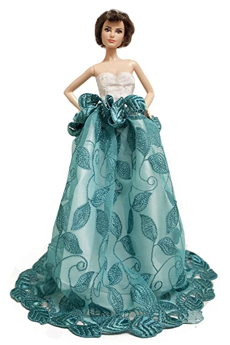 Green Leaf Leaves Dress Prom Gown Fits for Barbie Doll