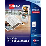 Avery Tri-Fold Brochures for Inkjet Printers, 8.5 x 11 inches, White, Matte, Box of 100 (8324)