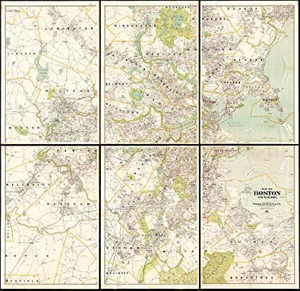 Amazon.com: Historic Map | 1913 Map of Boston and suburbs | Antique ...