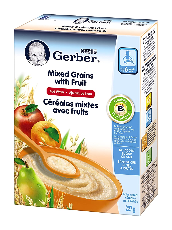 Gerber Mixed Grains Fruit Complete, Stage 2, 227g box (6 pack) Nestlé