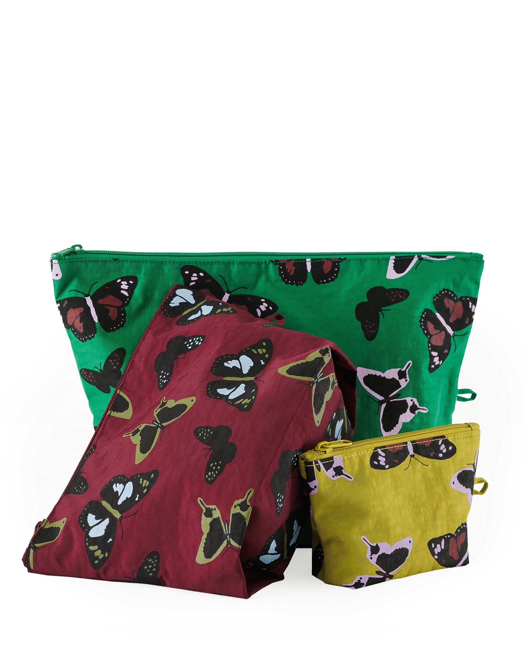 BAGGU Go Pouch Set, Expandable Nylon Zip Pouch 3 Pack for Travel and Organization, Fall Butterfly Set by BAGGU