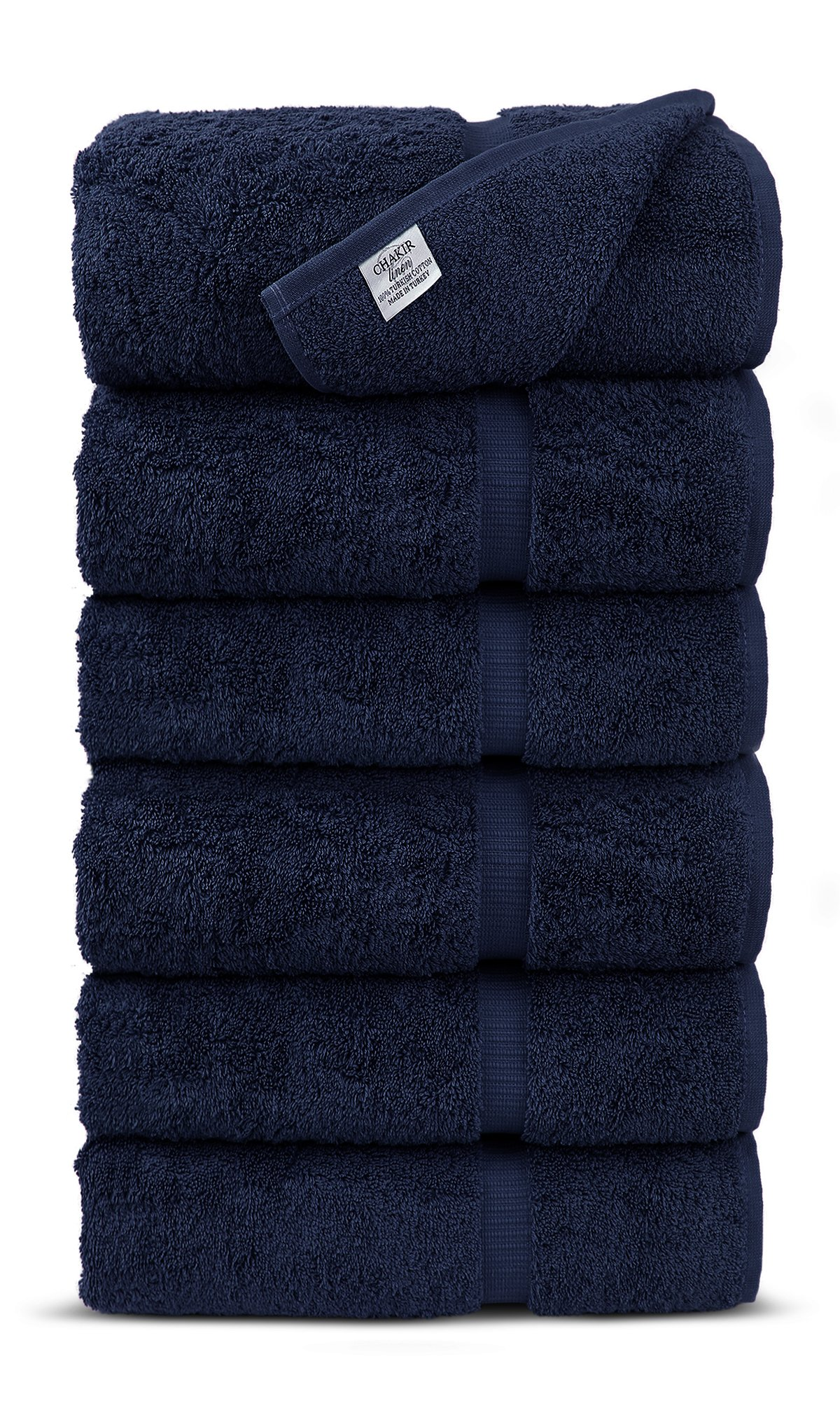 Luxury Premium long-stable Hotel & Spa Turkish Cotton 6-Piece Eco-Friendly Hand Towel Set (Navy)