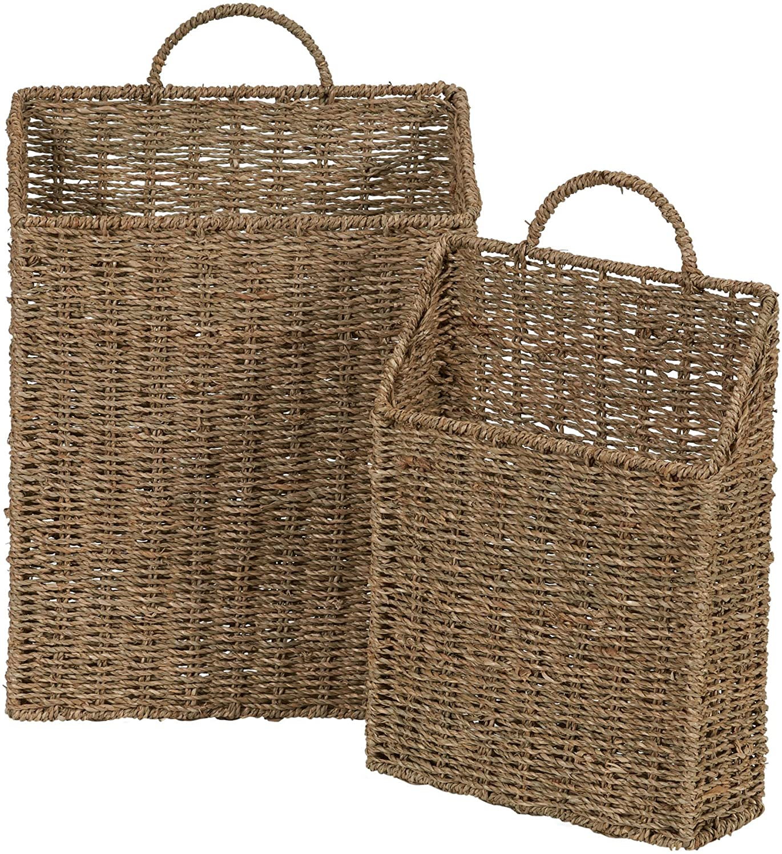 Household Essentials ML-5613 Seagrass Wall Basket Set, 2 Piece